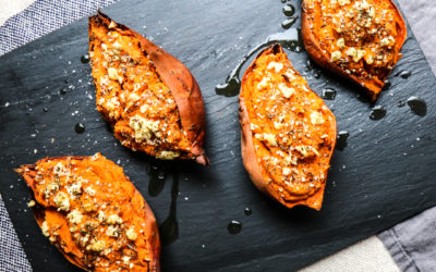 Twice-Baked Mediterranean Sweet Potatoes