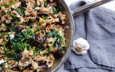 Eggplant and Spinach Pasta with Goat Cheese