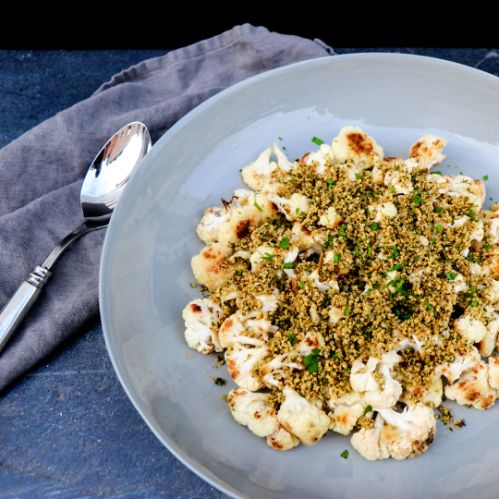 Roasted Cauliflower with Crunchy Herb Hemp Seeds