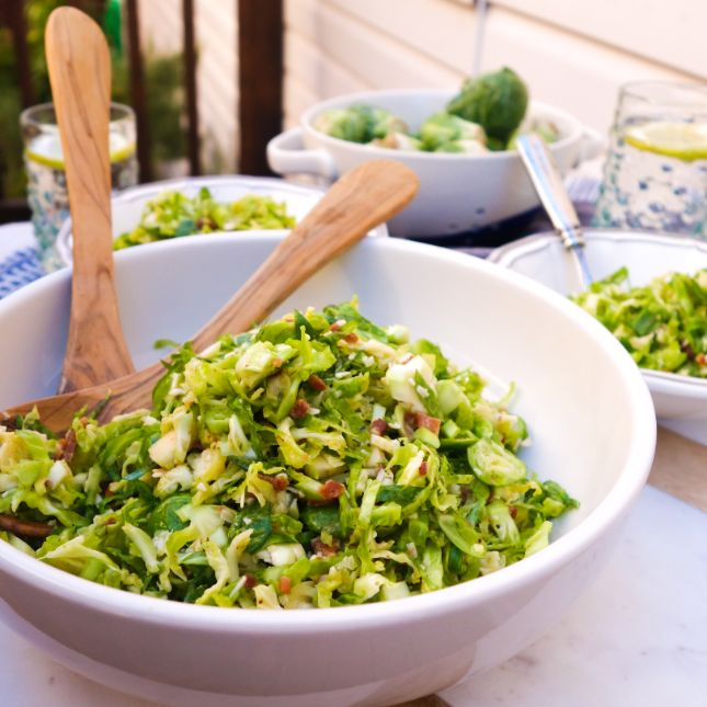 Shaved Brussels Sprouts with Bacon and Pecorino