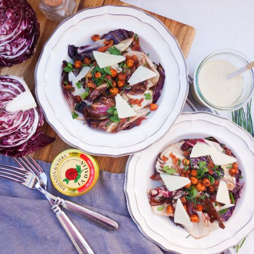 Warm Radicchio Salad with Lemon Anchovy Dressing